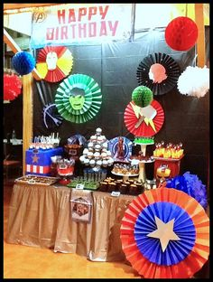 Avengers Party Dessert Bar by PAPEL COUTURE. #Avengers #partydessert