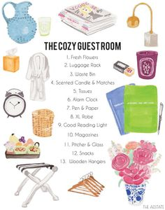 Guest Room/Bed & Breakfast ideas...I would add to that list a fan, a cotton sheet or cotton throw blanket to wrap up in and some sleep aid medicine. It's hard to be comfortable in a bed not your own!