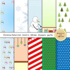 Christmas-Themed Digital Scrapbook Papers by ScrappedArtDesigns #christmas #holidays #digitalscrapbooking #digitalpapers #dailyetsysales
