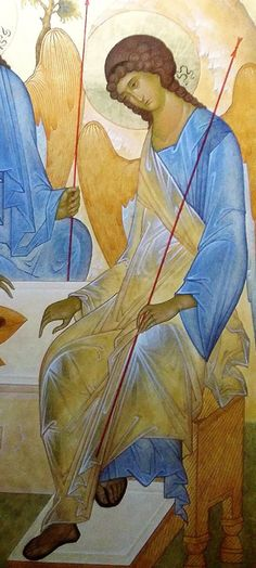 Detail of Trinity icon by Andrei Rublev. Byzantine Icons, Byzantine Art, Religious Icons, Religious Art, Andrei Rublev, Russian Icons, Art Icon, Orthodox Icons, Angel Art
