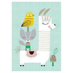 Kinderzimmer Poster 'Lama & Friends' mint/bunt 30x42cm