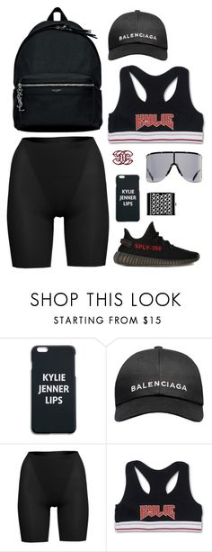 """Airport look american style with kylie jenner top and yeezy shoes"" by hugovrcl ❤ liked on Polyvore featuring adidas, Balenciaga, SPANX and Chanel"