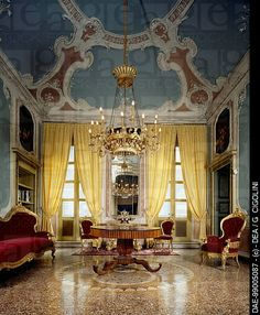 Glimpse of the Room of the Stuccoes , Palazzo Costa, Piacenza, Emilia-Romagna. Italy, 18th century.