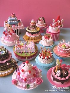 cake inspirations...can't read the language, but I can envision these cakes as smalls....