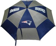 """NFL New England Patriots 62-Inch Double Canopy Umbrella by Team Golf. $27.99. Auto open button. Double canopy wind protection design. -1. 4 location imprint and printed sheath. 100% nylon fabric. 62"""" Umbrella. NFL New England Patriots 62-Inch Double Canopy Umbrella"""