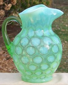 Large Fenton No. 1353 Green Opalescent Coin Dot Optic Pitcher-my Grandma had one of these, I wish I'd kept it!