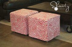 DIY Cube Ottoman Slipcover
