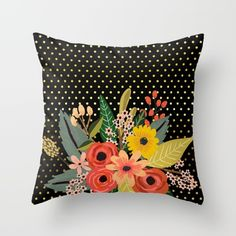 #flowers #bouquet #floral #pillow Available in different #giftideas products. Check more at society6.com/julianarw