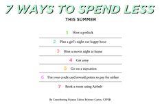 7 Ways to Spend Less This Summer // Brittney Castro, CFP® // Financially Wise Women