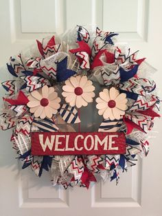 Patriotic Wreath, Fourth of July Wreath, Memorial Day Wreath, Wreath, Poly Burlap Deco Mesh, Everyday Wreath, Welcome Wreath by RoesWreaths on Etsy https://www.etsy.com/listing/232380095/patriotic-wreath-fourth-of-july-wreath