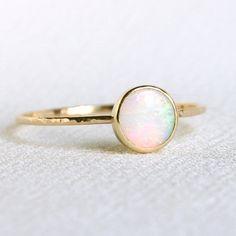 A fiery opal set in gold.
