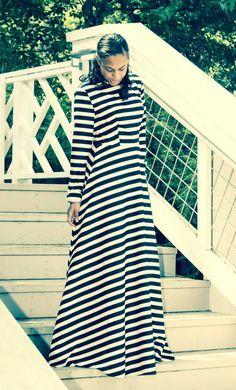 a0009da5394e Modest black and white striped maxi dress with hidden pockets Modest Maxi  Dress, Modest Skirts