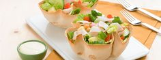 Chef's salad in tortilla bowls