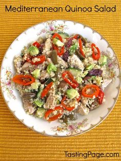Combine great Mediterranean ingredients with quinoa for a salad to eat all week long - gluten free and dairy free with vegan options | TastingPage.com