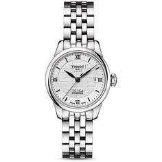 Tissot Le Locle Women's Automatic Double Happiness 2014 Watch, 25mm (£562) ❤ liked on Polyvore featuring jewelry, watches, silver, stainless steel watches, tissot, stainless steel wrist watch, tissot watches and transparent watches