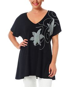 Love this Black & Silver Floral Tunic - Plus on #zulily! #zulilyfinds