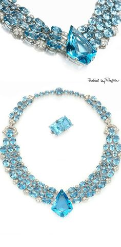 Regilla ⚜ Cartier this is how you do Baby Blue Right. Art Deco Jewelry, Resin Jewelry, Bling Jewelry, Vintage Jewelry, Jewelry Design, Yoga Jewelry, Jewelry Box, Jewlery, Aquamarine Jewelry