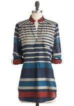 Watercolor Workshop Top | Mod Retro Vintage Short Sleeve Shirts | ModCloth.com