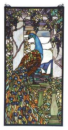 Tiffany Victorian Nouveau Tiffany Peacock Wisteria Stained Glass Window - 70519 $593.99