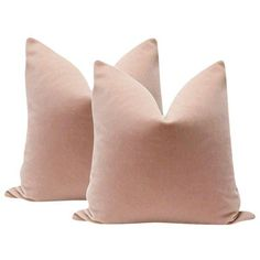 """22"""" Mohair Velvet Pillows in Blush - A Pair ($329) ❤ liked on Polyvore featuring home, home decor, throw pillows, pillows, velvet throw pillows, twin pack, set of 2 throw pillows, velvet accent pillows and blush home accessories"""
