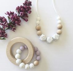 The perfect teething accessories! And we love these colour palettes. A mix of silicone and wood arebyhr perfect combo for sore baby gums! Baby Necklace, Nursing Necklace, Teething Necklace, Necklace Ideas, Stocking Stuffers For Baby, Baby Stocking, Baby Shower Gifts, Baby Gifts, Wooden Teething Ring