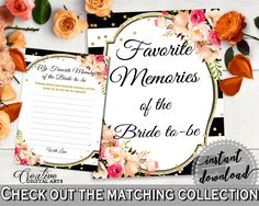 Favorite Memories Of The Bride To Be in Flower Bouquet Black Stripes Bridal Shower Black And Gold Theme, favourite memories, - QMK20 #bridalshower #bride-to-be #bridetobe