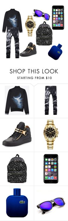 """it's more"" by diulkanatashadelarosaramires ❤ liked on Polyvore featuring Yves Saint Laurent, Giuseppe Zanotti, Rolex, Off-White, Lacoste, men's fashion and menswear"