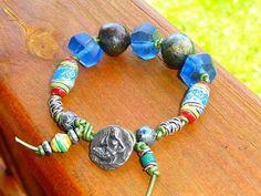 Knotted Leather Single Wrap in Glass-Ceramics-Clay-Metal   GemOnAWire - Jewelry on ArtFire