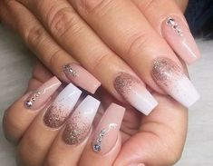 Nude Nails. Ombre Glitter Nails. Nails With Rhinestones. Acrylic Nails. Gel Nails.