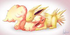 Aww flareon and jolteon cuddling^.^