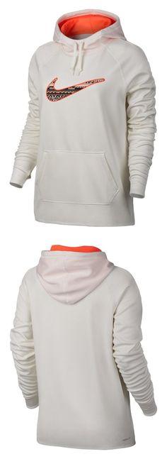 Nike Women's All Time 8 Bit Pullover Hoodie Sweatshirt (White/Orange/Black) Hoody (Large) #sports #sweater #nike #categories #active_hoodies #active #clothing #women #departments