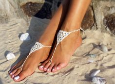 Cream Bridal Crochet Barefoot Sandals Foot jewerly by Bryleens