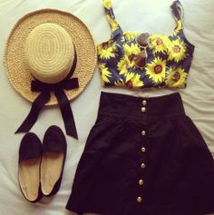 Sun hats sunflowers. Crop, high wasted button up skirt ballet flats. Perfect summer outfit. Check out Dieting Digest