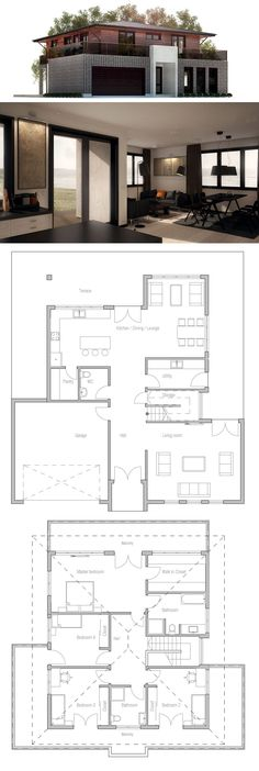 Modern Three Bedrooms House Plan, Architecture, House Design, passive home plan New House Plans, Dream House Plans, Modern House Plans, Small House Plans, Modern House Design, House Floor Plans, Three Bedroom House Plan, Sims House, House Layouts