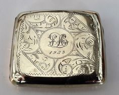 Tobacciana, vintage cigarette case, silver plated cigarette box, 1923 with initials, LH, Collectible Engraved cigarette holder. by NanaBarbarastreasure on Etsy