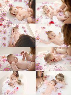 Family Photography, milk bath, baby, baby photography, nursing imagery, breastfeeding , floral bath, flower bath