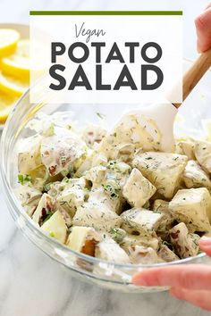 This vegan potato salad is light, bright, and delicious! Not only is this potato salad the perfect summer side, but it's also so easy to make. Greek Salad Recipes, Healthy Salad Recipes, Vegan Recipes, Healthy Eats, Vegan Snacks, Potato Recipes, Vegan Food, Free Recipes, Cooking Recipes