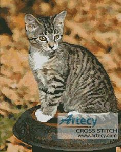 Artecy Cross Stitch. Autumn Kitten Counted Cross Stitch Pattern to print online.