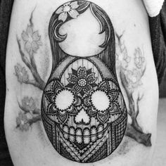 Lace skull nesting doll Mais Body Art Tattoos, Cool Tattoos, Tatoos, Russian Doll Tattoo, Nesting Doll Tattoo, Enough Tattoo, Lace Skull, Tattoo Flash Sheet, Tattoo Addiction
