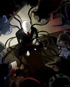 once upon a time there was a little boy... ------------- Slenderman and Ticci Toby. Guess how many pasta monsters are there in the picture. And how many can you recognize... *2/27 edit: The monster...