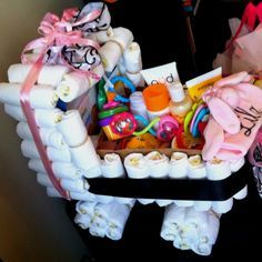 Baby shower diaper stroller. Show box, rubber bands, and lots of goodies