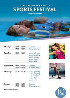 What is your favorite activity?  We have great programs for those who want to stay fit on holiday! Favori aktiviteniz hangisi?  Tatilde de fit kalmak isteyenler; bu programlar tam sizlik!  #sportsfestival #zumba #kangoojump #aquaspinning