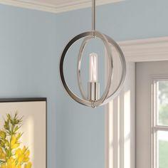 Hazel Brush Nickel 1-Light Globe Pendant