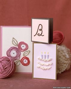 """Yarn Cards  An event that comes but once a year deserves a special card. Match the singularity of a birthday or an anniversary with a homemade card """"drawn"""" in yarn."""