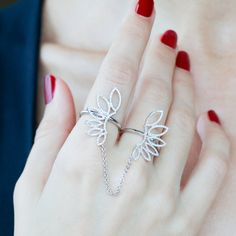 """Wings of Desire"" Diamond Two Finger Ring 