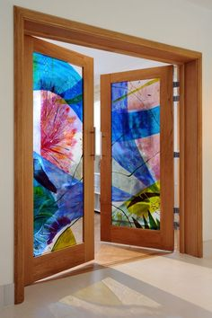 Fused glass and oak Stained and Decorative Glass Panels #sculpture by #sculptor Arabella Marshall titled: 'French doors (abstract Contemporary Coloured Glass Door sculpture)' #art