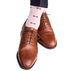 Pink with Navy Bow Tie and Mint Julep Cup Sock Linked Toe Mid-Calf