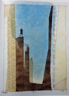 Lionel Feininger, manhatan  IV 1937