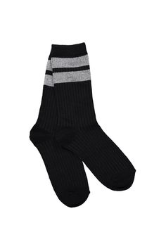 <p>RUBI COTTON MID LENGTH SOCK</p> <p>Sneakers tick, socks tick- the Rubi cotton mid length sock is the ultimate addition to the massive sock and sneaker trend, in stripes, sparkle and easy to wear designs what's not to love about the socks and sneaker trend!</p> <p>Lower calf length, soft fabrics, One size that fits most- best for size 36-41.</p> <p>Cotton polyester elastane blend.</p>