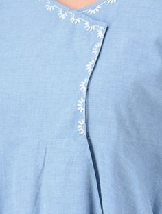 Blue Hand-embroidered Cotton Wrap Kurta with Asymmetrical Hem